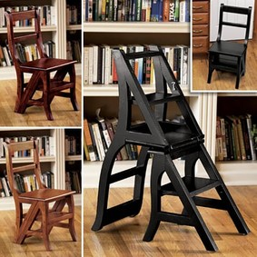 CHAIR & STEP STOOL CONVERTIBLE WOODEN